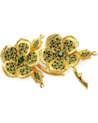 Kenneth Jay Lane - Crystal & 22k Goldplated Clover Pin - Lyst