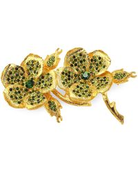 Kenneth Jay Lane - Pave Clover Pin - Lyst