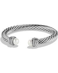 David Yurman - Crossover Bracelet With Pearls And Diamonds - Lyst