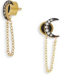 Ileana Makri - Moon Chained White Sapphire Stud Earrings - Lyst