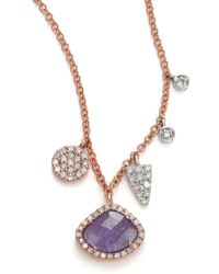 Meira T - Tanzanite, Mother-of-pearl, Diamond & 14k Rose Gold Doublet Pendant Necklace - Lyst