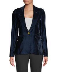 Smythe - Women's Velvet Peak Lapel Blazer - Sapphire - Size 2 - Lyst