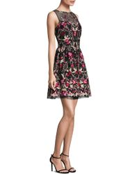 Shoshanna | Floral Embroidered Flare Dress | Lyst