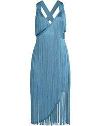 0385685a9155 Hervé Léger - Women s V-neck Fringe Midi Dress - Dusty Blue - Lyst