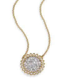 Plevé - Ice Diamond & 18k Yellow Gold Mini Flower Pendant Necklace - Lyst
