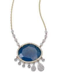 Meira T - Apatite, White Topaz, Diamond & 14k Yellow Gold Doublet Charm Pendant Necklace - Lyst