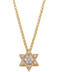 Roberto Coin - Diamond & 18k Yellow Gold Star Of David Necklace - Lyst