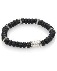 John Hardy - Batu Bedeg Sterling Silver Beaded Bracelet/frosted Black Chalcedony - Lyst