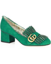 Gucci - Marmont Suede Mid-heel Pumps With Crystals - Lyst