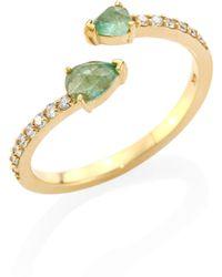 Paige Novick - Tplt Asymmetrical Diamond, Emerald & 18k Yellow Gold Ring - Lyst