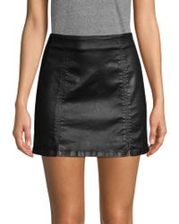 AG Jeans - Adaline Coated Denim Mini Skirt In Leatherette Super Black - Lyst