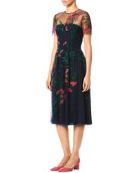 Carolina Herrera - Illusion Floral-embroidered A-line Cocktail Dress - Lyst