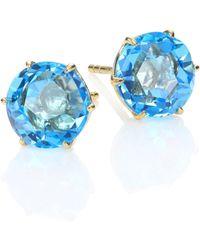 Ippolita - Rock Candy Swiss Blue Topaz & 18k Yellow Gold Medium Stud Earrings - Lyst