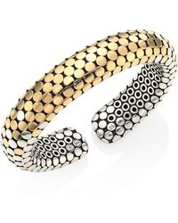 John Hardy - Dot Sterling Silver & 18k Yellow Gold Bangle Bracelet - Lyst