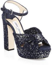 Jimmy Choo - Heloise Jacquard Platform Sandals - Lyst
