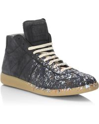 Maison Margiela | Replica Paint Splatter Suede Mid-top Sneakers | Lyst