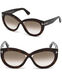 761d022bdbf Tom Ford - Women s Diane 56mm Cat-eye Cross Front Sunglasses - Dark Havana -