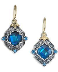 Konstantino | Thalassa London Blue Topaz, Sterling Silver & 18k Yellow Gold Drop Earrings | Lyst