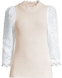 Rebecca Taylor - Women's Eyelet Sleeve Pullover - Washed Petal - Lyst