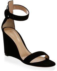 Gianvito Rossi - Portofino Suede Wedge Sandals - Lyst