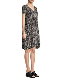Eileen Fisher - Printed Silk Drawstring-waist Dress - Lyst