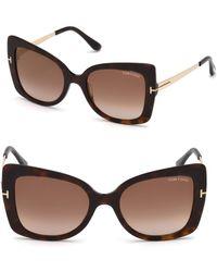 Tom Ford - Gianna 54mm Cat Eye Tortoise Sunglasses - Lyst