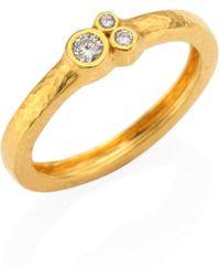 Gurhan - Pointelle Diamond & 22k Yellow Gold Band Ring - Lyst