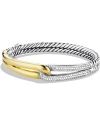David Yurman - Labyrinth Single-loop Bracelet With Diamonds And Gold - Lyst