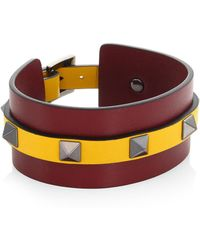 Valentino - Stripe Studded Leather Bracelet - Lyst