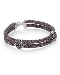 Stinghd - Black Diamond, Silver & Stingray Peaked Wrap Bracelet - Lyst