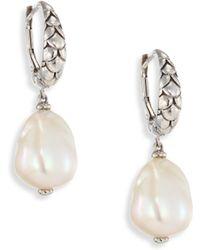 John Hardy - Legends Naga 11mm White Baroque Pearl & Sterling Silver Dangle Drop Earrings - Lyst