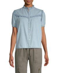 Joie - Auset Ruffled Silk Chambray Shirt - Lyst