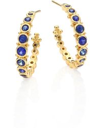 Temple St. Clair - Small Eternity Blue Sapphire & 18k Yellow Gold Hoop Earrings/0.4 - Lyst