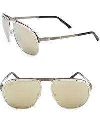 3691595cf0a81 Cartier - Women s Santos Pionnier Aviator Sunglasses - Gold - Lyst