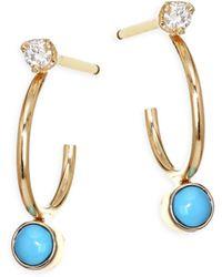 Zoe Chicco - Turquoise Diamond, Turquoise & 14k Yellow Gold Huggie Hoop Earrings - Lyst