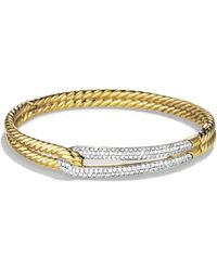 David Yurman - Labyrinth Diamond 18k Yellow Gold Bangle Bracelet - Lyst