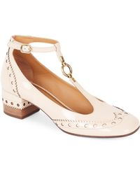 Chloé Perry Patent Leather Mary Jane Pumps - Natural