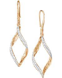 John Hardy - 14k Yellow Gold Diamond Drop Earrings - Lyst