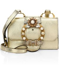 Miu Miu - Crystal-embellished Madras Metallic Leather Shoulder Bag - Lyst