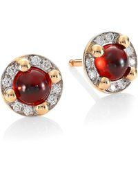 Pomellato - M'ama Non M'ama 18k Rose Gold Garnet & Diamond Stud Earrings - Lyst