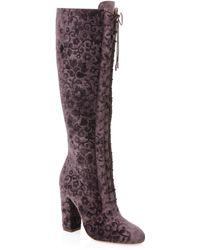 Alice + Olivia | Vesey Embossed Velvet Boots | Lyst