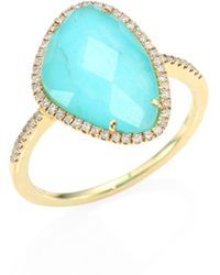 Meira T - Diamond, Turquoise & 14k Yellow Gold Ring - Lyst