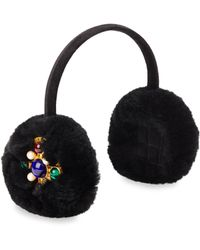 Glamourpuss - Embellished Rabbit Fur & Velvet Earmuffs - Lyst