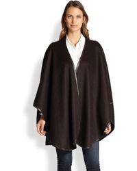 Sofia Cashmere - Reversible Leather Trim Cape - Lyst