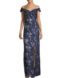 Aidan Mattox - Off-the-shoulder Metallic Floral Brocade Gown - Lyst