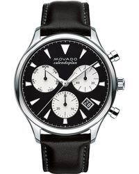 Movado - 43mm Heritage Calendoplan Chronograph Watch With Black Leather Strap - Lyst