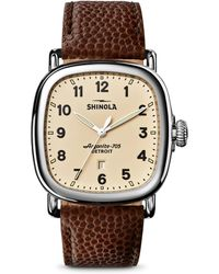 Shinola - The Guardian Football Leather Strap Watch - Lyst
