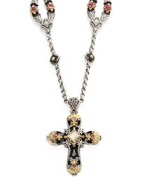 Konstantino - Nemesis Mother-of-pearl & Pink Tourmaline Cross Pendant - Lyst