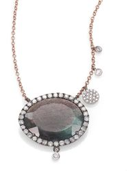 Meira T - Labradorite, Diamond & 14k Rose Gold Pendant Necklace - Lyst