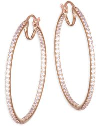 Adriana Orsini - Pave Crystal Hoop Earrings - Lyst